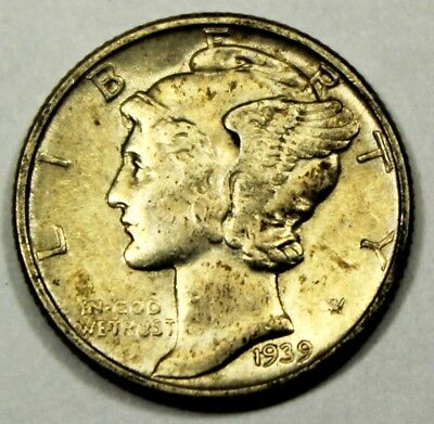 1939 United States Mercury Head Dime - AU About Uncirculated Condition