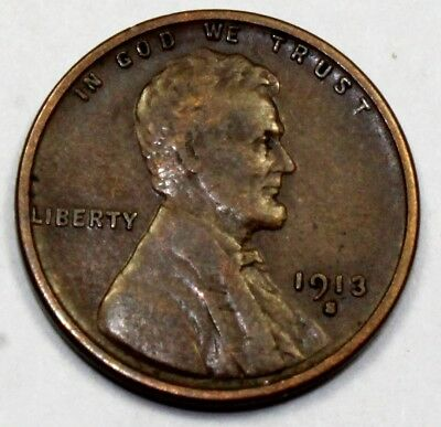 1913-S United States Lincoln Wheat Cent / Penny - VF Very Fine Condition