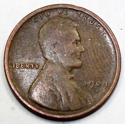 1909-S United States Lincoln Wheat Cent / Penny - F Fine Condition