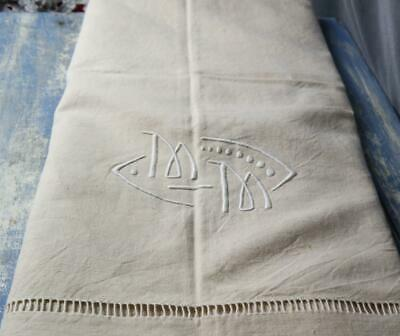 Beautiful Antique French Unbleached Linen Dowry Sheet Monogram Jour Unused #f35