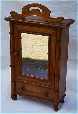 French Art Nouveau Doll House Miniature Faux Bamboo Armoire Wardrobe