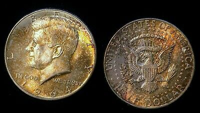 (2) 1964 D 50C US Kennedy Half Dollar Silver Coin Roll Ends with Rainbow Toning