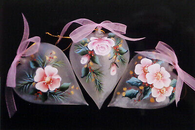 "Judy Diephouse/Lynne Deptula tole pattern ""Roses & Holly Glass Ornaments"""