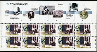 Canada Stamp #1584-United Nations 50th Anniversary (1995) Full Pane of 10 MNH