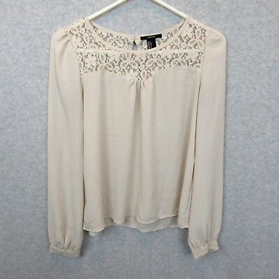 b2f0fb93be1cb4 Forever 21 Blouse Size S Beige Lace Yoke Semi Sheer 3/4 Sleeve Top Womens