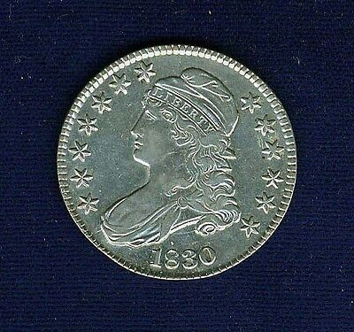 U.s.  1830  Capped Bust Silver Half-Dollar Coin, Almost Uncirculated