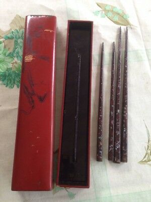 lot 4 ANTIQUE CHINESE CHOPSTICKS MOTHER of PEARL or ABALONE INLAID w box