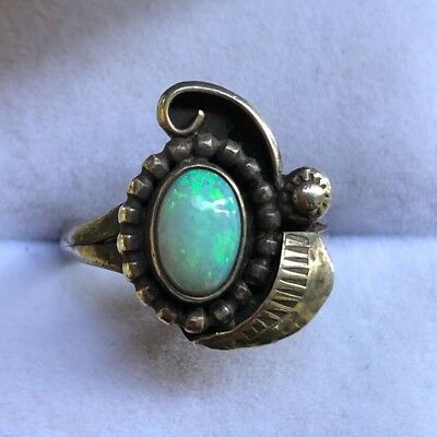Vintage American Sterling Silver Opal Small Ring CLEARANCE SALE