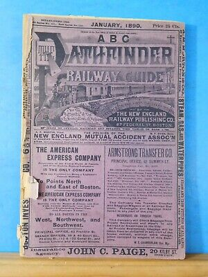 ABC The Pathfinder Railway Guide 1890 January New England Official Guide