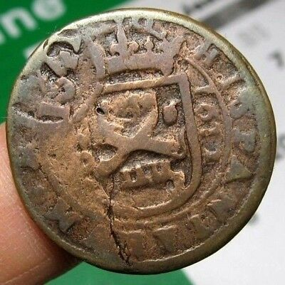 excellent 1612 PIRATE COB SPANISH 8 Maravedis Colonial Coin Felipe PHILIP IIII