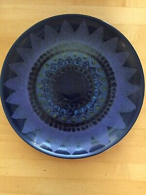 """Blue Arabia of Finland Salad or Lunch Plate 7 3/4"""" Diameter Signed HLA/RS"""