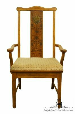 BERNHARDT FURNITURE Asian Chinoiserie Style Burled Wood Dining Arm Chair 255-502