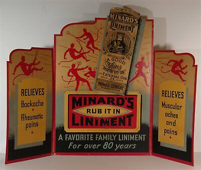 ca1920s MINARD LINIMENTS PATENT MEDICINE TRI-FOLD ADVERTISING SIGN WITH DEVILS