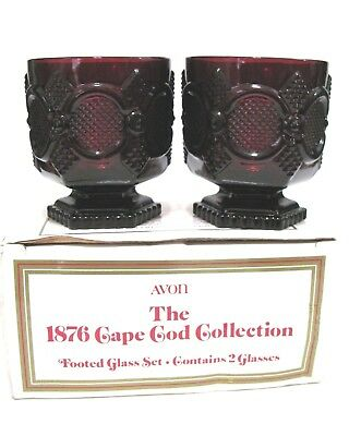 New Avon 1876 Cape Cod Collection Set of 2 Footed Glasses Ruby Red Dinnerware