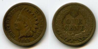 Nice Copper-Nickel 1863 Indian Head Small Cent Nicely Toned F+ NR