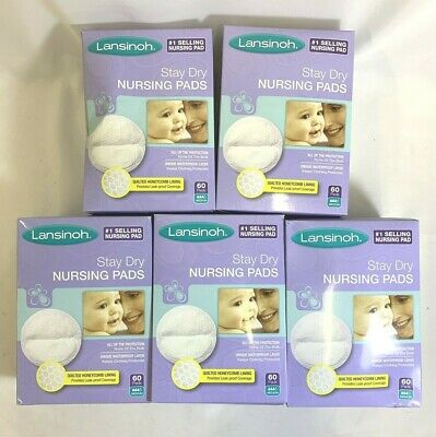 Lot of 5- Lansinoh Stay Dry Disposable Quilted Breast Nursing Pads - 60 each.