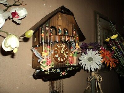 Nice German Black Forest Painted Musical Fairy Cuckoo Clock With Dancers