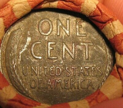"1943-P Lincoln Wheat Cents Pennies, ""Roll"" of 50 Loose, Circulated Steel"