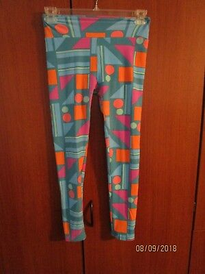 Lularoe Leggings Sz OS One Size Multi Color Circles Squares Polyester Spandex