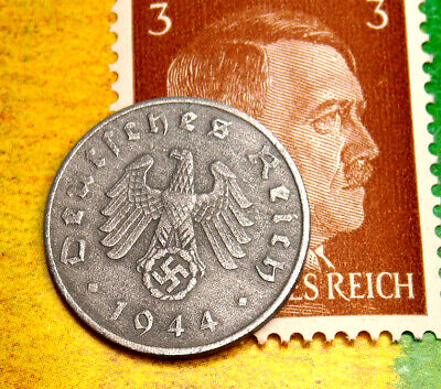 D-DAY 1944-A WW2 NAZI German 1 Reichspfennig SWASTIKA Coin & Hitler Stamp LOT