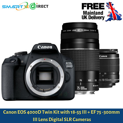 CANON EOS 4000D DSLR Camera with EF-S 18-55 mm f/3.5-5.6 III & EF 75-300 mm f/4-