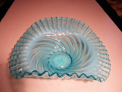 "Antique Jefferson Glass Comany 10"" Blue Opalescent Swirl Glass 2 Sides Up Bowl"