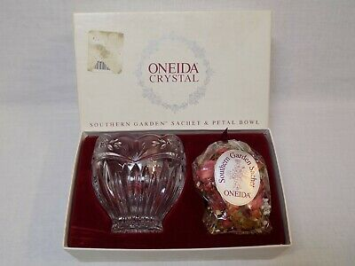 ONEIDA Crystal ROSE BOWL Frosted FLORAL Southern Garden SACHET Germany Dish NEW