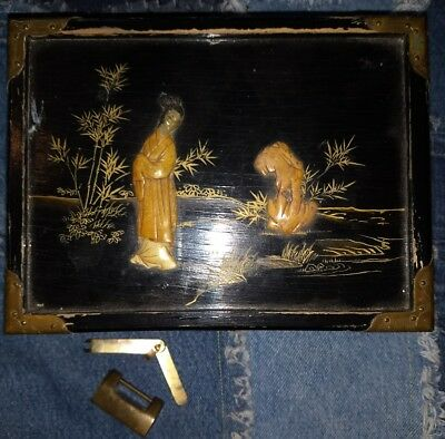 Vintage Chinese Black Lacquer Wood Jade Jewelry Box Brass Hinges & Padlock