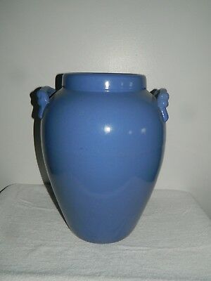 Large Blue Art Pottery Stoneware Floor Porch Oil Jar Urn Vase w/ Rope Handles