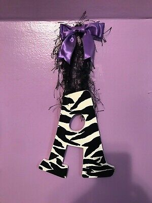 Wood Zebra Print Hand Painted Letter A Custom Wall Hanging Beaded Purple Bow