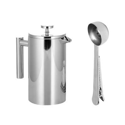 Stainless Steel French Press Coffee Tea Maker Double Wall Filter Baskets Cafetie