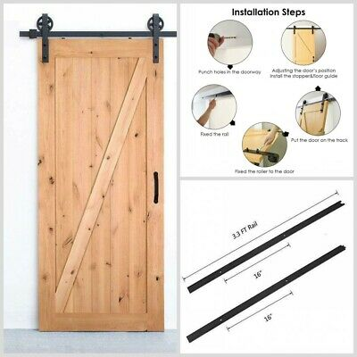 6.6FT Black Wood Sliding Barn Door Hardware Kit Home Decoration Rural Style US