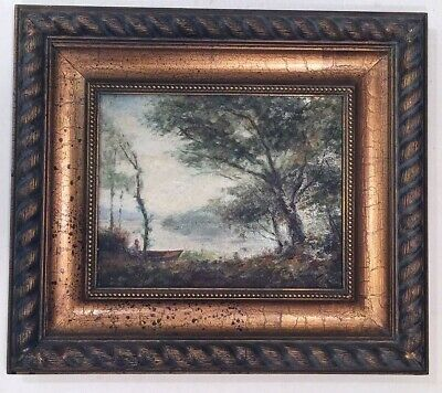 Charles Guilloux Signed French Landscape Oil Painting on Canvas 8x9.75 Framed