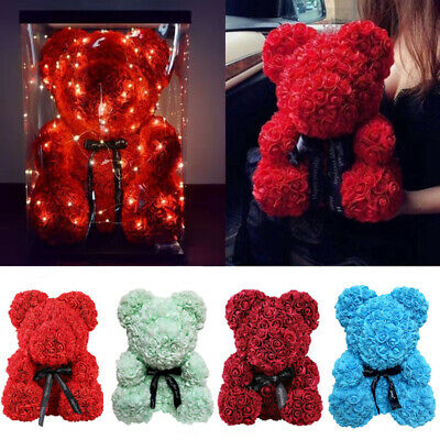 Hot Rose Flower Bear Toys Teddy Birthday Valentine Wedding Anniversary Gift UK d