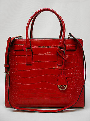 334ccc2de3b3 $398 Nwt Michael Kors Dillon Large Ns Croco Embossed Tote 30H4Gait3E Chili  New!