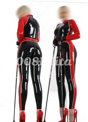 100% Latex Rubber Gummi Bodysuit Handsome Sports Tights Catsuit Suit Size S-XXL
