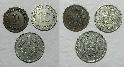 GERMANY : 3 OLD COINS 19th-20th Century