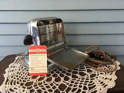 Vintage Montgomery Wards A-Frame Electric Toaster Chrome Finish