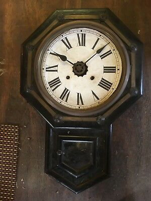 Vintage Antique Black Wall Mounted Grandfather Chiming Clock Spares or repair