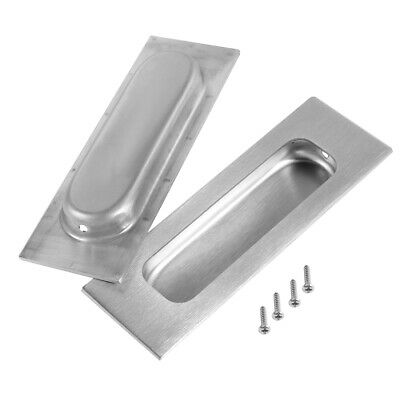 "4-3/4"" x 1-3/5"" Recessed Sliding Door Handle Flush Pull 201 Stainless Steel 2pcs"