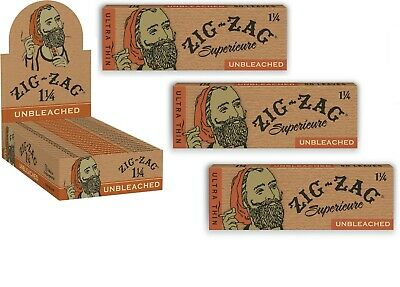 """3X Packs of ZIG ZAG UNBLEACHED """"Superieure"""" 1 1/4 Size Cigarette Rolling Papers"""