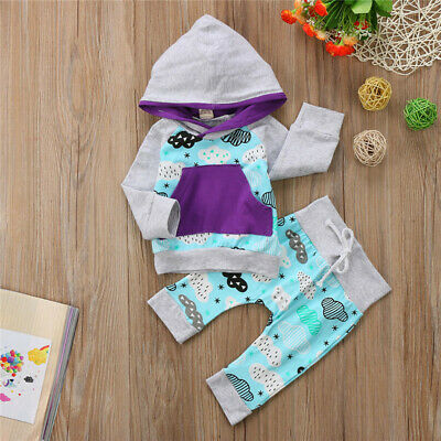 Newborn Baby Boys Girls Floral Hooded Tops Pants Leggings Outfits Set Clothes US