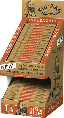 48 Pack Display ZIG ZAG UNBLEACHED 1 1/4 and King Size Cigarette Rolling Papers