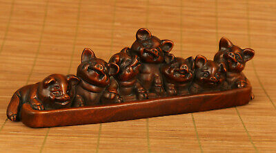 chinese old antique boxwood hand carved 7 pigs statue netsuke ornament