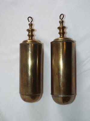 Pair of antique brass Longcase grandfather clock weights.