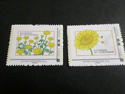 FLORE, LOT 2 timbres ANTHEMIS, GRAINES FRANCE, AUTOADHESIFS neufs**, MNH STAMPS
