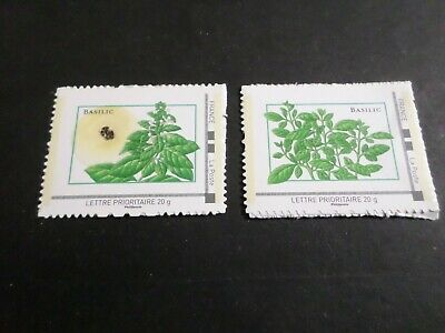 FLORE, LOT 2 timbres BASILIC GRAINES FRANCE, AUTOADHESIFS neufs**, MNH STAMPS