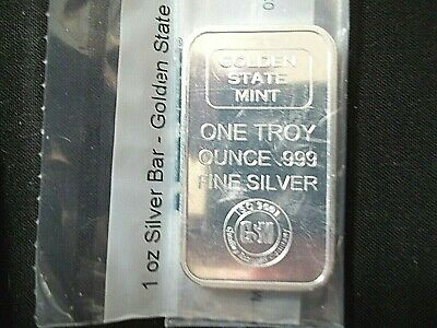 1 Oz. .999 Fine Silver Bar, Golden State Mint Bar , Listed Below Cost Price!