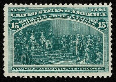 Scott#238 15c Columbian 1893 Mint LH OG Well Centered