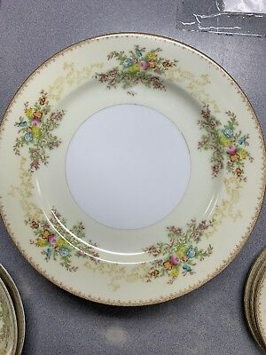 """7 Meito China Japan  Dinner Plates 10"""" Hand Painted China Antique Vintage"""